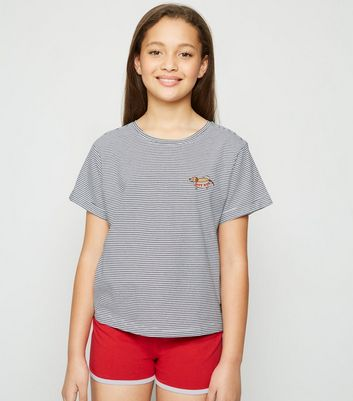 Girls Red Stripe Hot Dog Slogan Pyjama Set