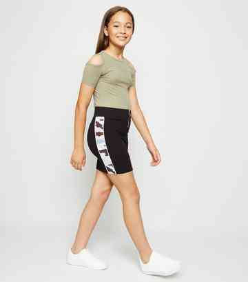 Girls Blue Camo Stripe Ring Zip Tube Skirt