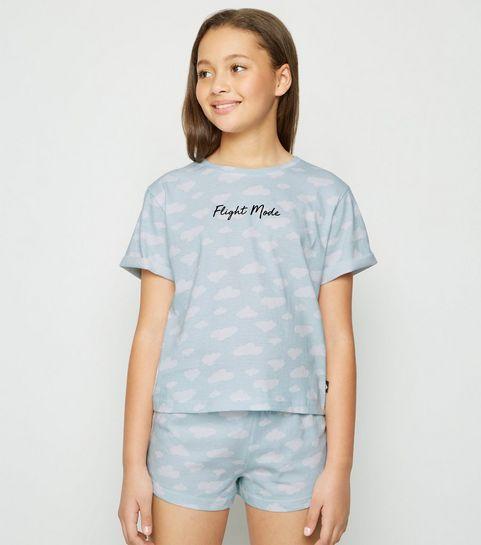 5511fbf9dd25c ... Girls Pale Blue Flight Mode Slogan Pyjama Set ...