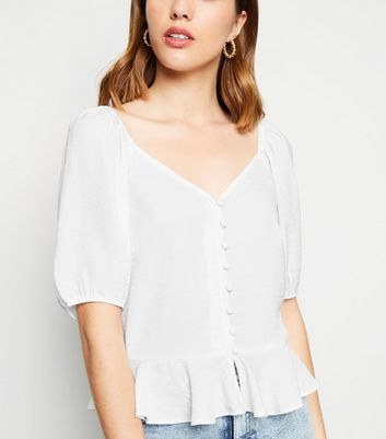 Off White Button Front Peplum Blouse