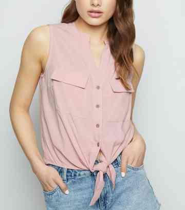 Pale Pink Sleeveless Tie Front Shirt