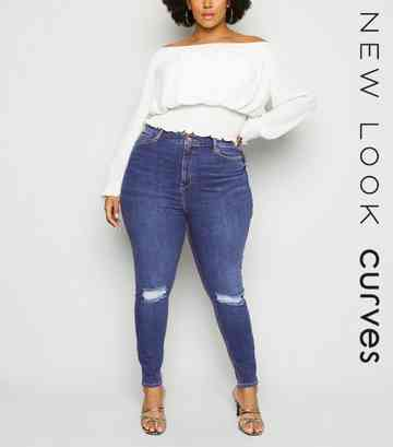 Navy 'Lift And Shape' Ripped Knee Jeans