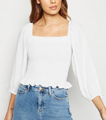 Off White Shirred Square Neck Peplum Top