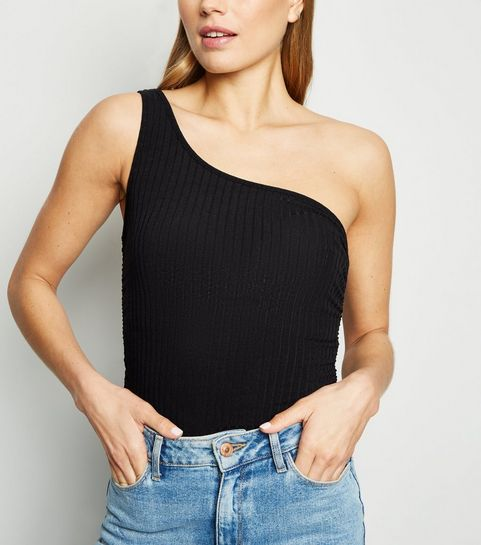 590d8a5915b93e ... Black Ribbed Ruched One Shoulder Top ...