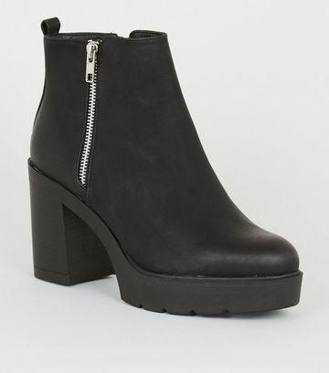 Black Leather-Look Block Heel Chelsea Boots