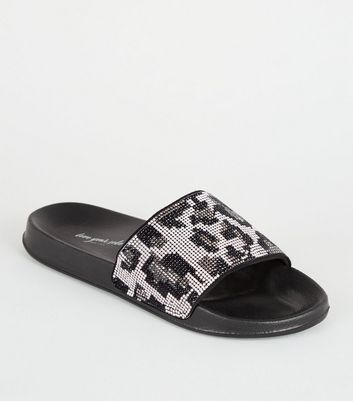 Black Diamanté Leopard Pattern Sliders