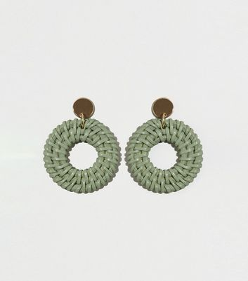 Green Woven Raffia Drop Hoop Earrings