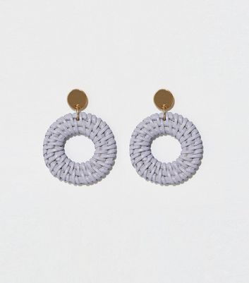 Lilac Woven Raffia Drop Hoop Earrings