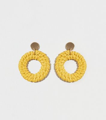 Yellow Woven Raffia Drop Hoop Earrings