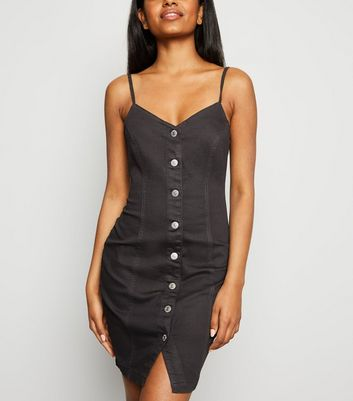 Petite Black Button Up Denim Bodycon Dress