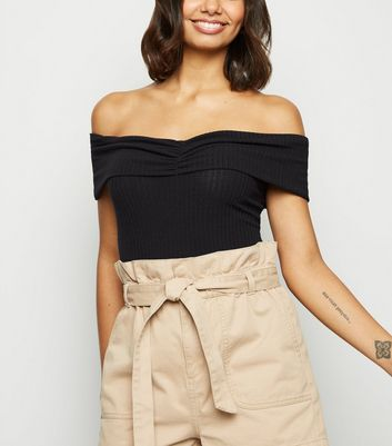 Black Sleeveless Ruched Front Bardot Bodysuit