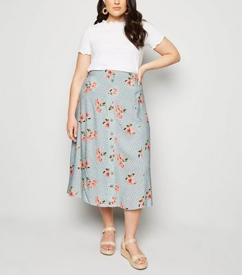 Curves Blue Floral Spot Button Up Midi Skirt