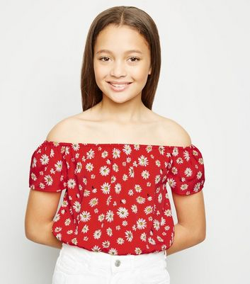 Girls Red Floral Bardot Top