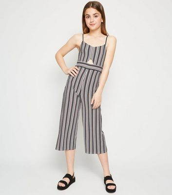 Girls Pink Stripe Cut Out Jumpsuit
