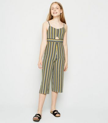 Girls Yellow Stripe Cut Out Jumpsuit