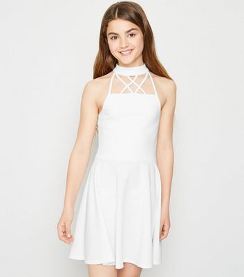 Girls White Strappy Hatlerneck Skater Dress