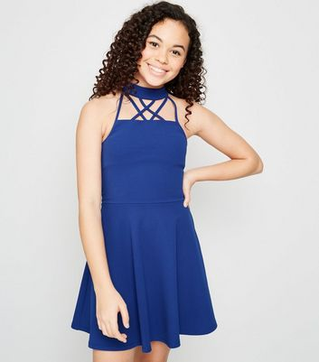 Girls Blue Strappy Hatlerneck Skater Dress