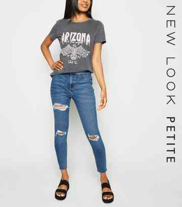 Petite Teal Ripped High Waist Super Skinny Jeans