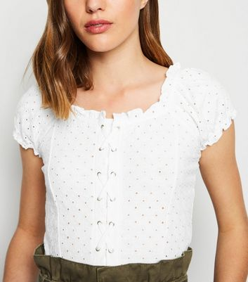 White Broderie Eyelet Lattice Front Top