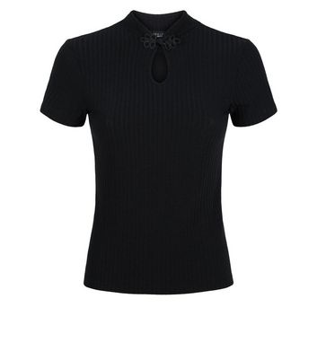 petite black ribbed button neck top new look
