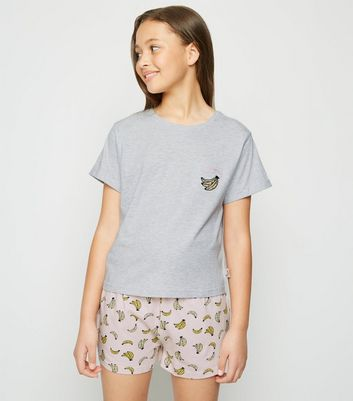 Girls Pale Grey Banana Slogan Pyjama Set