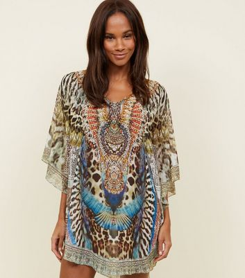 Green Mixed Print Embellished Beach Kaftan