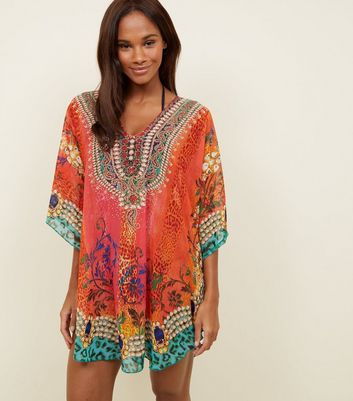 Pink Mixed Print Embellished Beach Kaftan