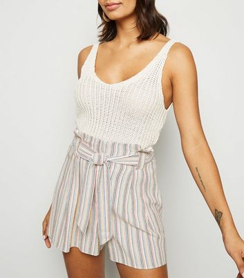 White Stripe Linen Look Paperbag Shorts