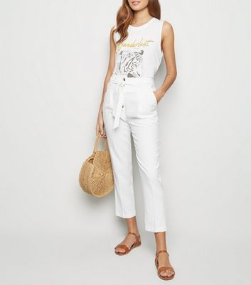 White Linen Blend Paperbag Trousers