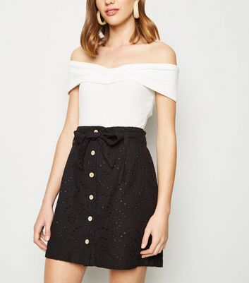 Black Broderie Paperbag Button Up Skirt