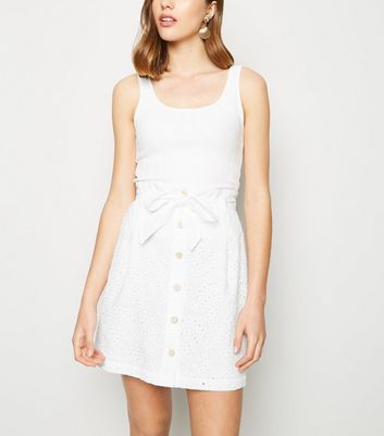 White Broderie Paperbag Button Up Skirt