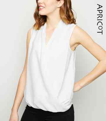 Apricot White Crossover Wrap Top