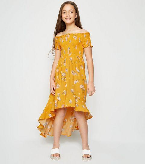 736b12424b2e ... Girls Yellow Floral Shirred Dip Hem Dress ...