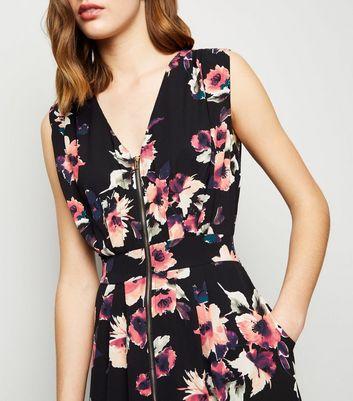 Apricot Black Floral Zip Front Maxi Dress New Look