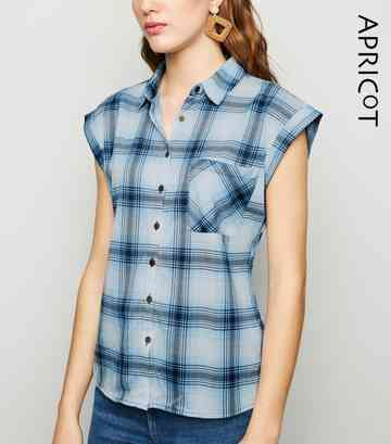 Apricot Blue Check Button Up Shirt
