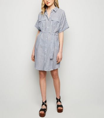 Apricot Blue Stripe Batwing Shirt Dress