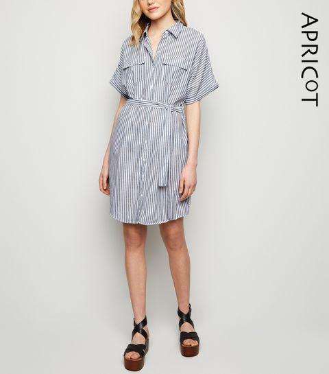 436c3e08cf422 ... Apricot Blue Stripe Batwing Shirt Dress ...