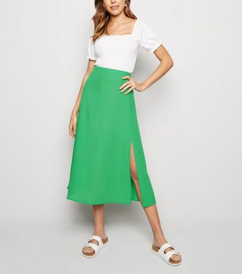 Green Split Side Midi Skirt