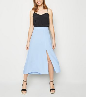 Pale Blue Split Side Midi Skirt