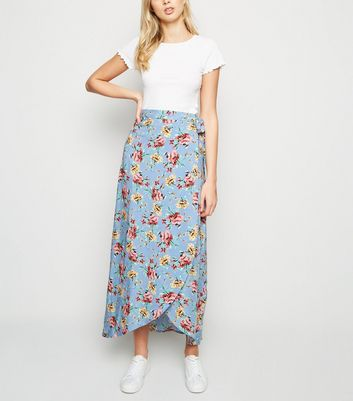 Blue Floral Wrap Maxi Skirt