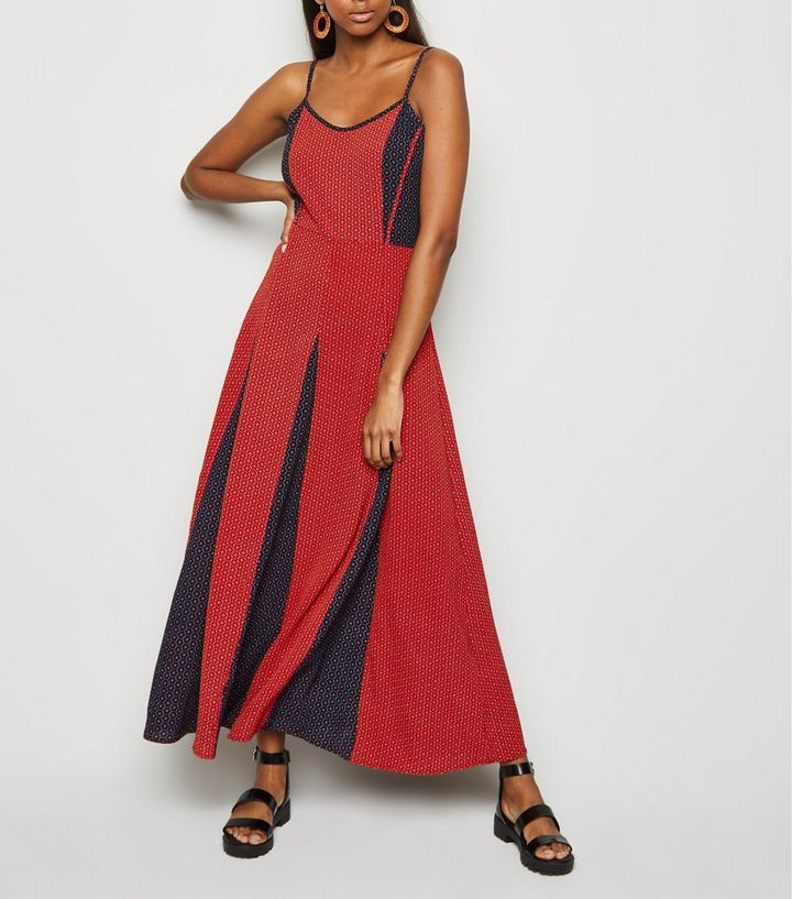 536b19e81ff Brave Soul Red Tile Print Maxi Dress