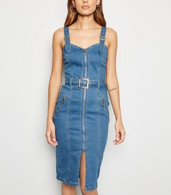 Bright Blue Belted Denim Midi Dress