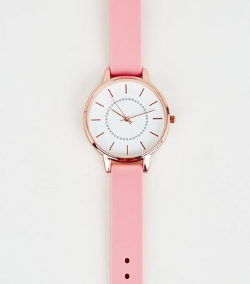 Pink Silicone Strap Analogue Watch