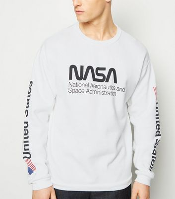 White Nasa Slogan Sweatshirt