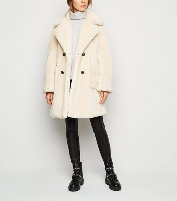 Pink Vanilla Cream Double Breasted Teddy Coat | New Look