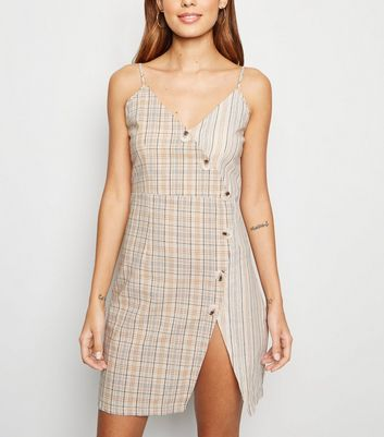 Pink Vanilla Off White Check Button Up Dress