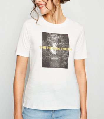 JDY White Photographic Truth Slogan T-Shirt