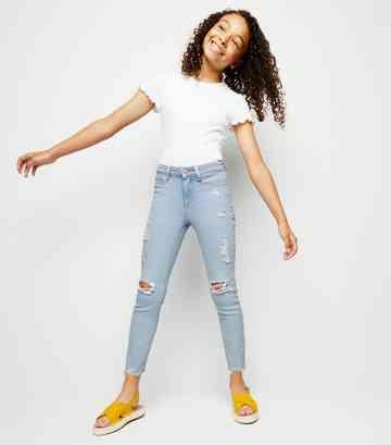 e8c739841e3 Girls Pale Blue Bleach Wash Skinny Jeans ...
