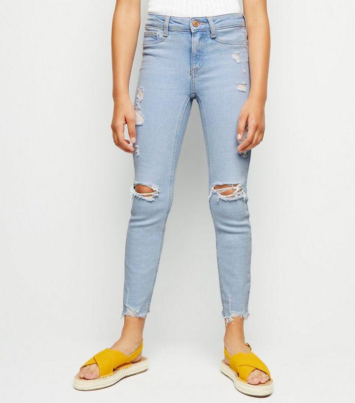 1395fe581d57 ... Girls Pale Blue Bleach Wash Skinny Jeans. ×. ×. ×. Shop the look