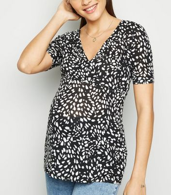 Maternity Black Animal Print Wrap Top